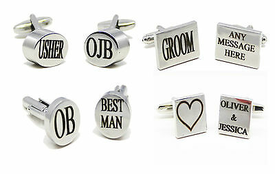Personalised Wedding Best Man Engraved Cufflinks Cuff Links Silver Plated Giftuk