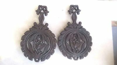 Two Antique Griswold Cast Iron  1736 Trivets Eagle and Heart