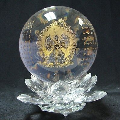 "4 1/4"" Feng Shui White Umbrella Goddess Crystal Sphere Ball With Lotus Stand"