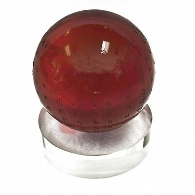 "3"" Feng Shui Red Round Crystal Globe with Omani"