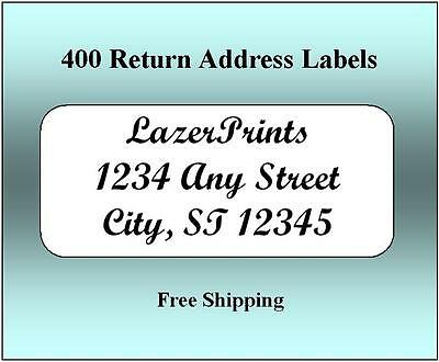 400 Return Address Labels. 1/2 x 1.75 Inch White Labels. Easy Peel & Stick.