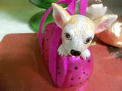 Christmas Tree Ornament or Home Decor Display Pet Dog in a Purse/Carrier EC