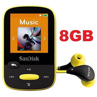SanDisk Sansa Clip Sport Yellow 8GB Digital Media Player MP3 LCD Radio Micro SD