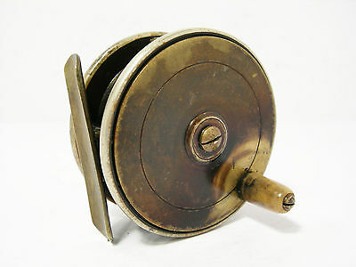 """Vintage Antique Brass Ebonite 2 ¾"""" Combination Platewind Fly Fishing Reel"""