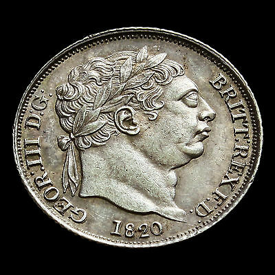 1820 George III Milled Silver Sixpence – Scarce – A/UNC
