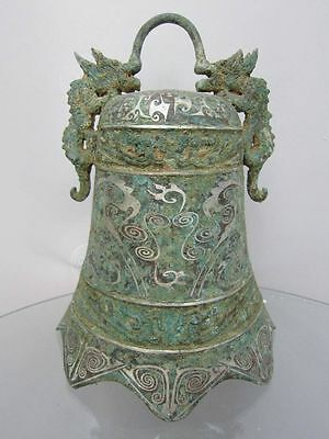 Chinese bronze Bells Pair Dragon silver-plating aeneous symbol of power old