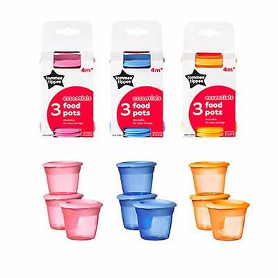 Tommee Tippee Essentials  Food Pots x3 - Blue, Orange or Pink