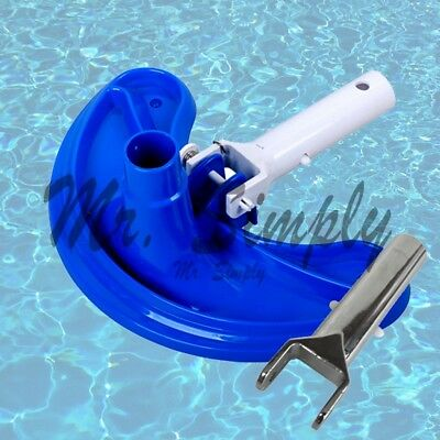 Curved Vacuum Head Cleanner Pool Spa Pond Cleaning Extra Metal Handle Jacuzzi