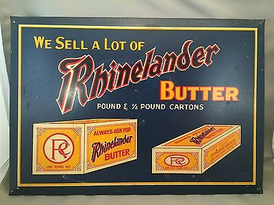 Vintage Rhinelander Butter Sign Tin Over Cardboard Display Advertising Dairy