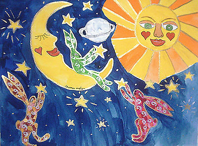 "Fridge Magnet, Quirky Hares among the Moon & the Sun at Night   4.25"" by 5.5"""
