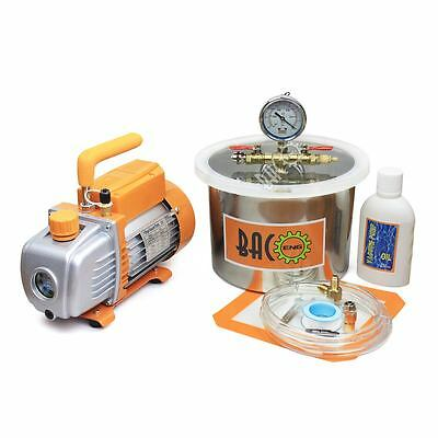 1.5 Gallon Vacuum Degassing Chamber with 3.6 CFM Single Stage Vacuum Pump HVAC