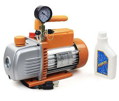 5 CFM Dual Stage Rotary Vane Vacuum Pump With Vacuum Gauge HVAC US Stock