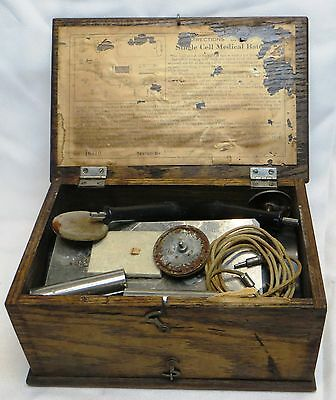 Antique Quack Medicine Kit Medical Apparatus Shock Treatment Old Oak Wood Box