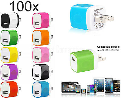 LOT 100x 1A USB Wall Chargers Portable AC Home Power Adapter FOR iPhone Samsung