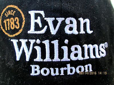 Evan Williams Bourbon Whiskey Black Cotton Baseball Cap Hat Distressed One Size