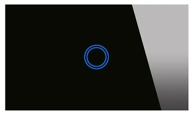 CLIXMO One Touch 1 Gang Wall Light Switch Black Glass Panel Blue LED SAA APPROV