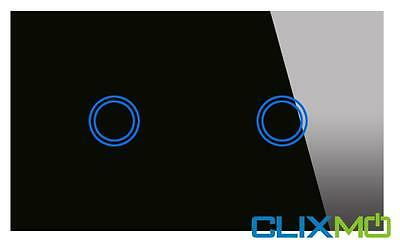 CLIXMO One Touch 2 Gang Wall Light Switch Black Glass Panel Blue LED SAA APPROV