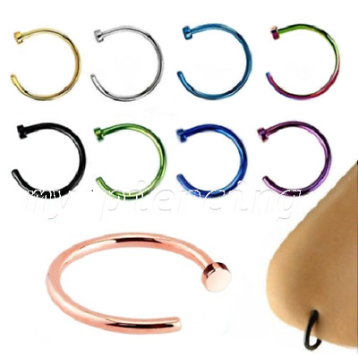 """1PC. 22g, 20g, 18g~1/4"""", 5/16"""", 3/8"""" Anodized 316L Surgical Steel Nose Hoop Ring"""