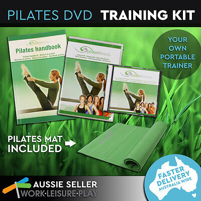 5 in 1 Pilates DVD Fitness Workout Training Kit Exercise Stretching Band Mat