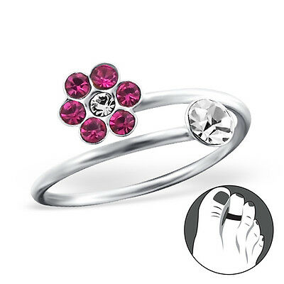925 Sterling Silver Toe Ring Pink Clear CZ Flower Adjustable Midi Body Jewellery
