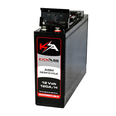 KickAss 12V 120AH Slimline Deep Cycle AGM Battery 4x4 Dual Battery Camping