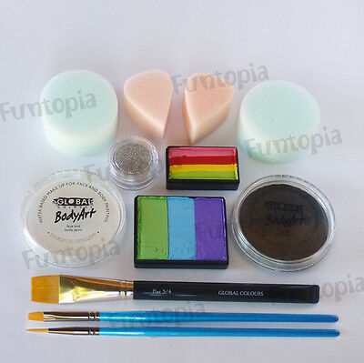 Funtopia's Rainbow Basics Face Painting Kit 3 - Global Body Paint Party Cosplay