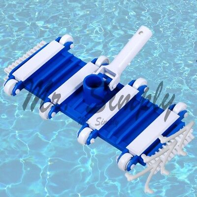 """14"""" Flexible Vacuum Side Brushes Replaceable Wheels Pool Spa Cleanner Extra Clip"""