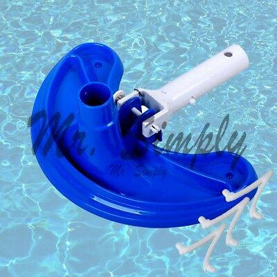 Deluex Curved Vacuum Head Cleanner Pool Spa Pond Cleaning ABS Extra Clip Jacuzzi