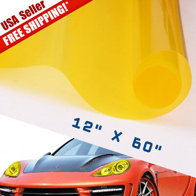 "20% Universal 12""x60"" Golden Yellow Headlight Tailight Fog light Tint Film Vinyl"