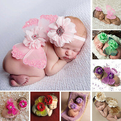 Cute Newborn Girl Flower Headband +Butterfly Wings Baby Photography Posing Props