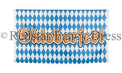 Oktoberfest Flag Blue And White Beer Festival Bavaria Pennant 5Ft X 3Ft