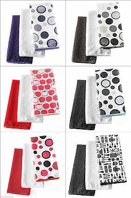3 Pack Dotted Print Kitchen Hand Towel Microfiber Towels Cleaning Rag Dish Cloth