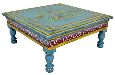 """Indian Wooden Side Table Painted Worship Temple Low End Christmas Table 13"""""""