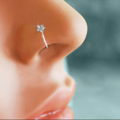 3pc Body Rhinestone Crystal Nose Hoop Ring Stud Flower Charm Silver Jewelry Gift