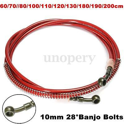 60cm - 200cm Motorcycle Braided Brake Clutch Oil Hose Line Pipe Throttle Cable