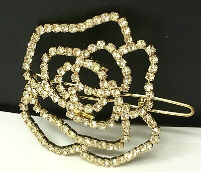 Wedding Bridal Party Flower Hair Clip 5cm*5cm Gold Colour with Rhinestones