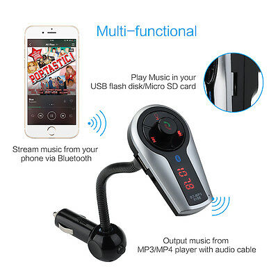 Bluetooth MP3 Player FM Transmitter Hands-free Car Kit Charger for iPhone UK New