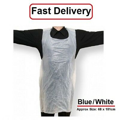 Disposable Plastic Aprons Polythene Aprons Eco  White Blue Colors Flat Pack  100