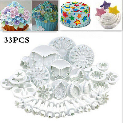 33pc Sugarcraft Cake Cupcake Decorating Fondant Icing Plunger Cutters Tools UK