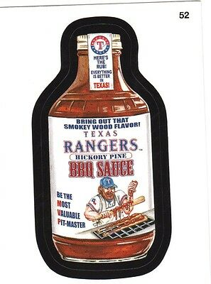 "2016 Wacky Packages Baseball Series 1 ""TEXAS RANGERS BBQ SAUCE"" #52 Sticker Card"