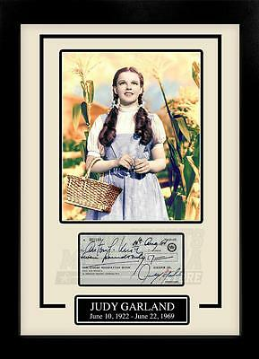 Judy Garland Facsimile Signed Autographed Personal Check Framed 8x10 Display