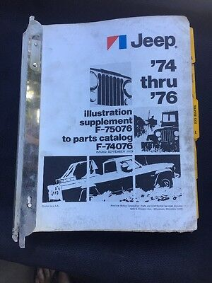 74-76 Jeep Parts Catalog With Illustration Supplement