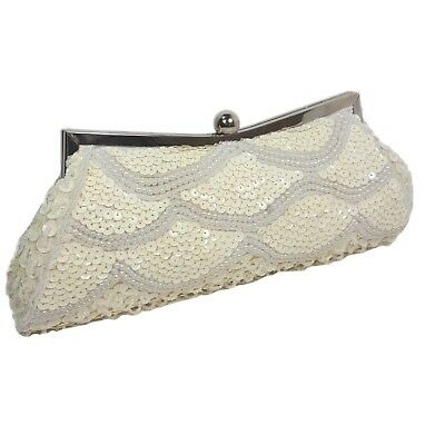 Ivory White Evening Bag Beaded Sequin Satin Clutch Party Bridal Prom