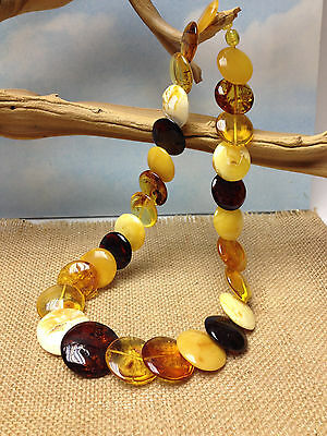 GENUINE ANTIQUE NATURAL BALTIC AMBER NECKLACE  MULTI COLOR FLAT STONES  67g RARE