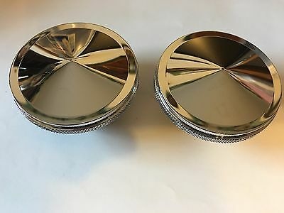 Chrome Drop Point Gas Cap Set Non Ratcheting One Vented One Non Vented Harley