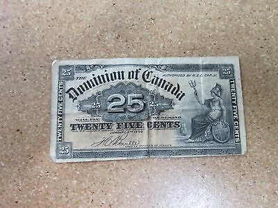 1900 Canadian 25 Twenty Five Cent Shin Plaster Fractional Bank Bill Note