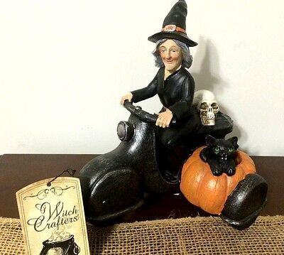 Witch Crafters Halloween Witch Cycle Primitive Folk Shelf Sitter Decoration