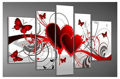 Abstract Hand Painted Oil Painting on Canvas Wall Art Home Decor Red Love Framed