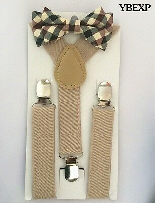New Tan Suspender and Tuxedo Bow Tie  Matching Sets for Kids US Seller