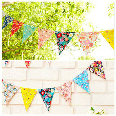 12 Flags Floral Fabric Bunting Vintage Shabby Chic Birthday Wedding Party Decor